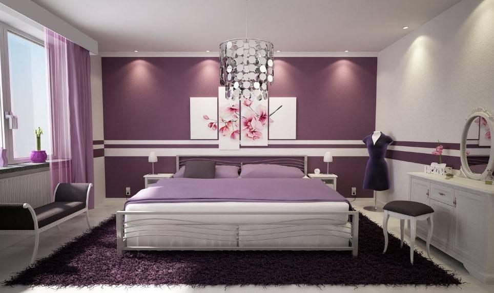 Сочетание сиреневого цвета с другими цветами в интерьере гостиной и спальни: комната в фиолетовых и лиловых тонах  - 31 фото