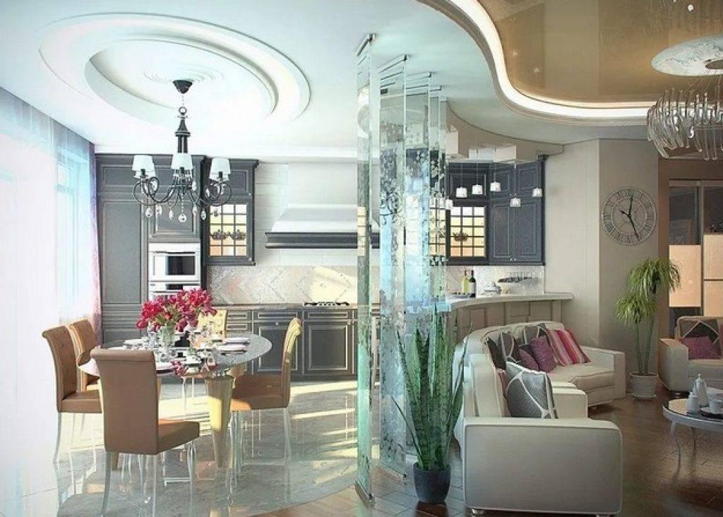 Дизайн гостиной совмещенной с кухней: варианты зонирования и планировки, 150 фото