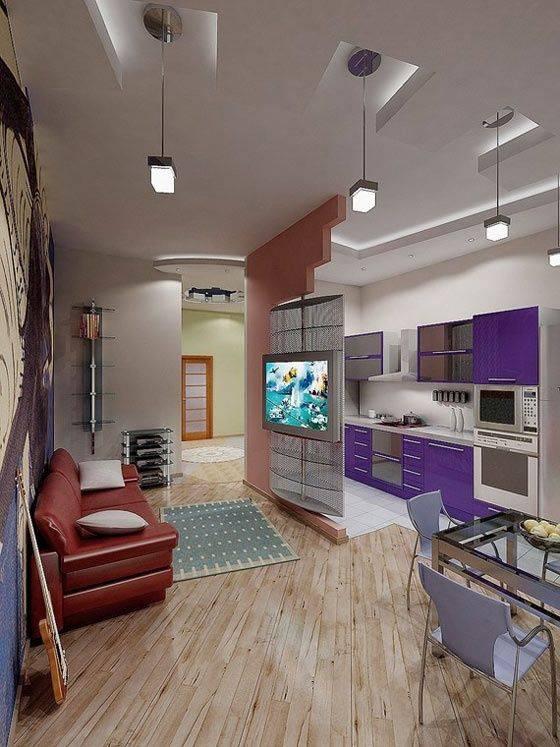 Освещение в кухне-гостиной: варианты зонирования малогабаритного помещения