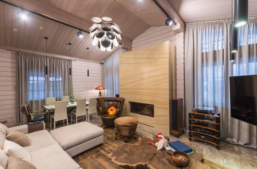 Красивые интерьеры деревянных домов: фото комнат и стили оформления