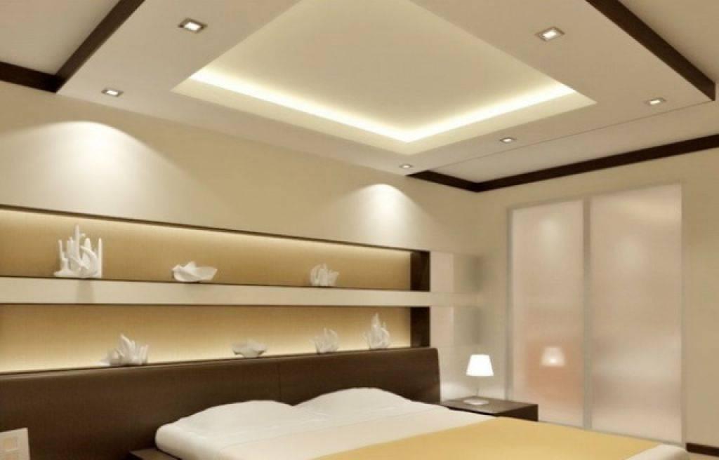 Красивый дизайн потолков из гипсокартона для спальной комнаты