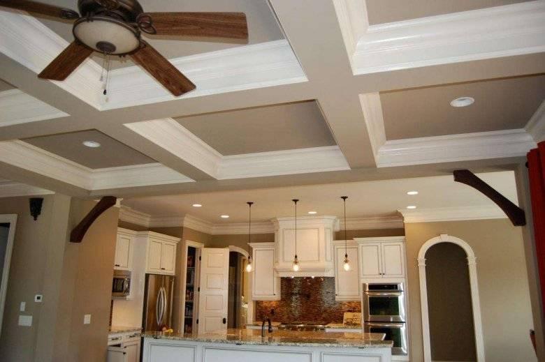 Потолок из гипсокартона на кухне (25 фото) : варианты отделки, двухуровневые, с подсветкой