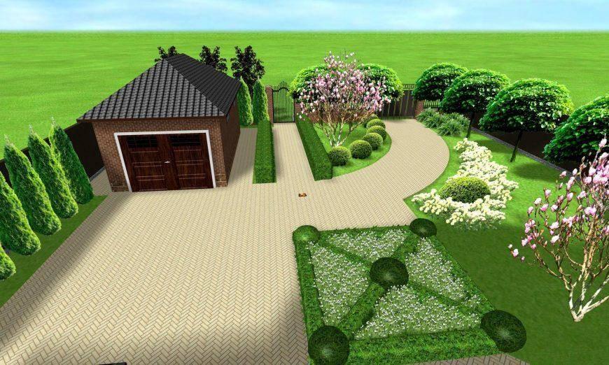 Ландшафтный дизайн участка 8 соток: схемы планировки интересных вариантов участков с домом, баней и гаражом + фото