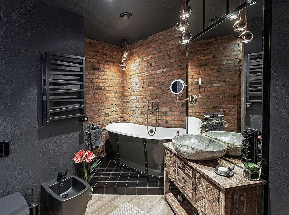 Стиль лофт в интерьере ванной- особенности дизайна и выбора сантехники