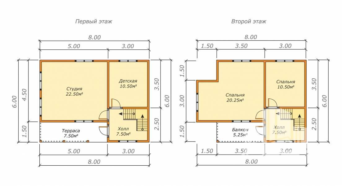 Планировка дома 6 на 8 с мансардой: проекты каркасных домов, из бруса, пеноблоков, кирпича, с гаражом, верандой или террасой