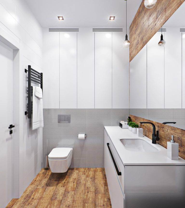 Черно-белая ванная: 120 фото идей современного оформления интерьера