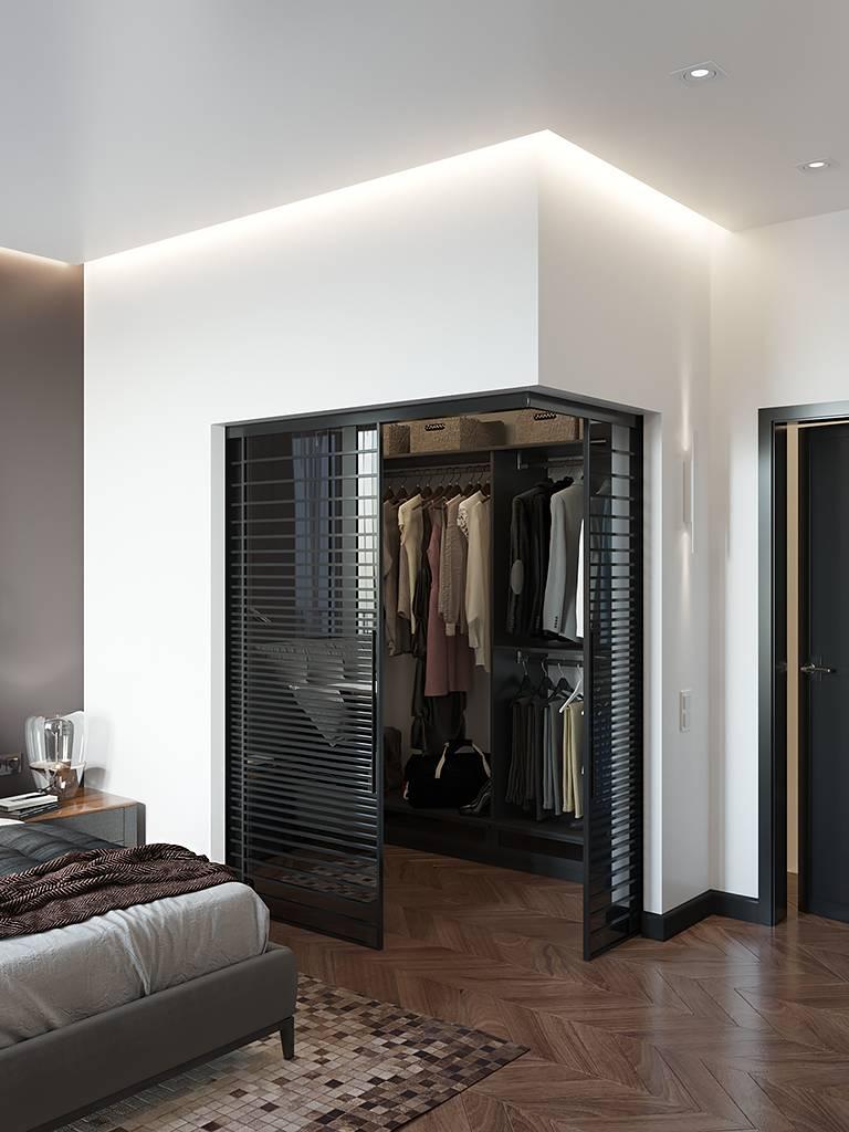 Гардеробная в спальне (85 фото): угловая и встроенная, как сделать небольшой шкаф в комнате из гипсокартона, идеи в интерьере