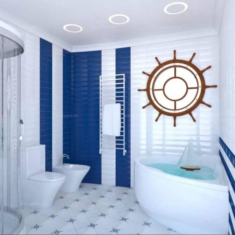 Фото интерьеров ванных комнат в морском стиле: аксессуары, цвета и идеи