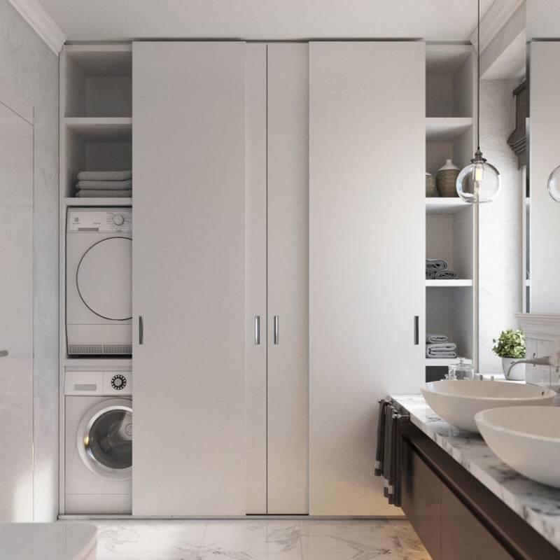 Особенности и преимущества шкафа над стиральной машиной