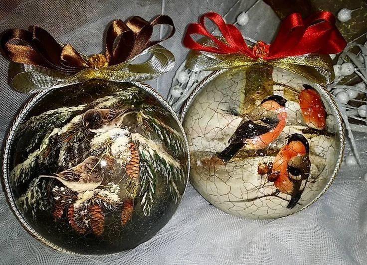 Декупаж новогодних шаров. интересные идеи