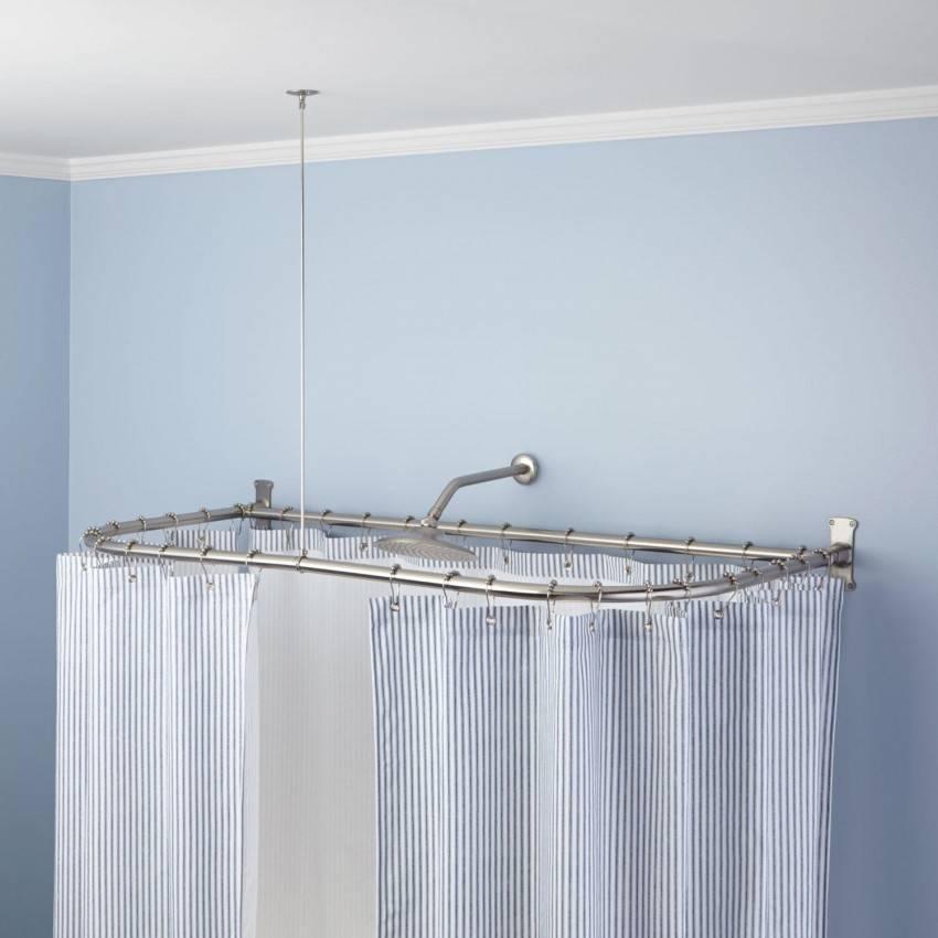 Полукруглые и круглые карнизы для ванной: радиусная штанга для занавески в ванной комнате и другие виды держателя