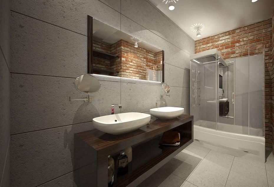 Ванная в стиле лофт: 120 фото стильного дизайна