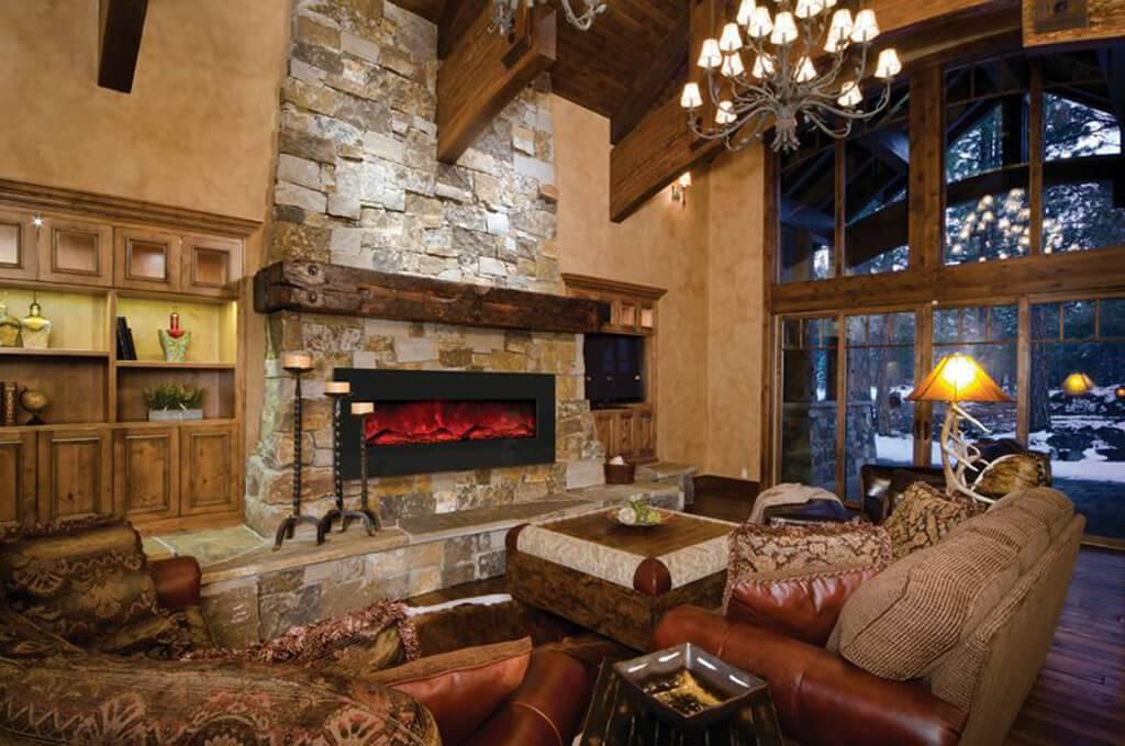 Дизайн гостиной с камином - фото идей интерьера в квартире, частном доме