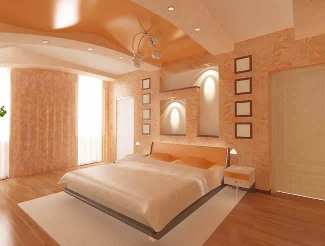 Натяжной потолок в спальне современный с подсветкой: красивые варианты, дизайн глянцевого потолка  - 37 фото