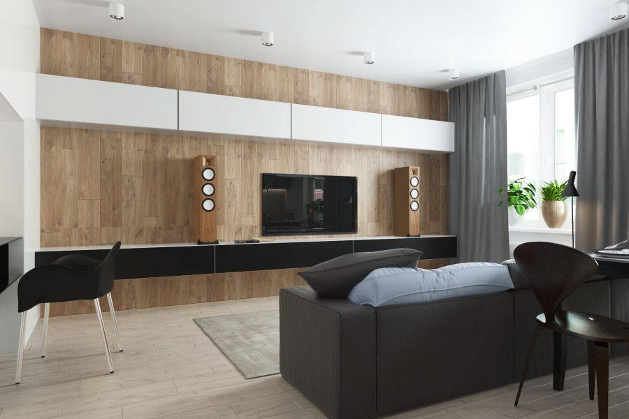 Гостиная в стиле минимализм: интерьер, дизайн, современная мебель и стенка в зале  - 53 фото
