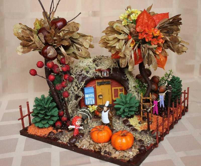 Осенние поделки своими руками для садика и в школу из природного материала (шишек, овощей) и фетра, с фото пошагово