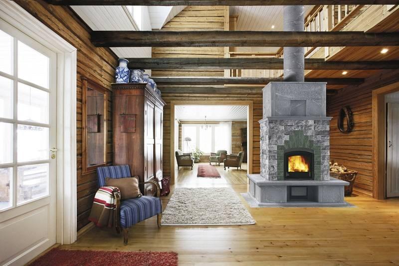 Дизайн интерьера кухни с печкой в частном, маленьком, деревенском доме