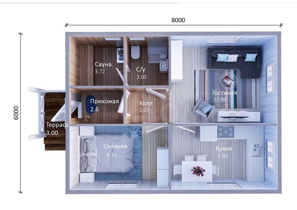 Проекты домов 6 на 8