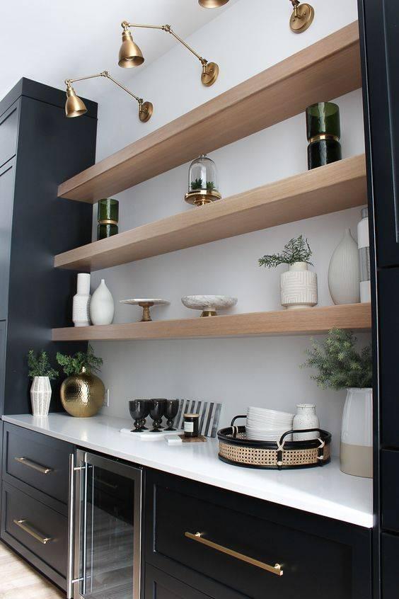 Полки для кухни - 58 фото вариантов замены шкафов и антресолейкухня — вкус комфорта