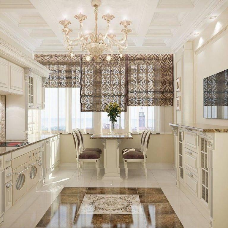 Дизайн светлой и темной кухни в классическом стиле: интерьер с современным гарнитуром в классических тонах  - 21 фото