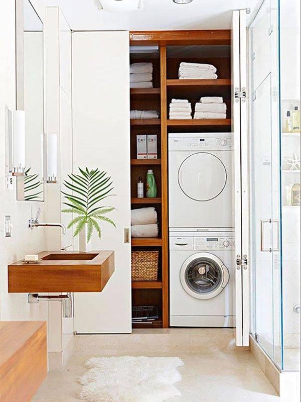 Шкаф для стиральной машины в ванную комнату