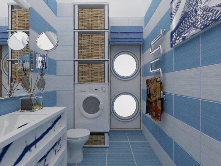 Ванная в морском стиле: советы по подбору цветовой гаммы и декоративных элементов + фото реальных примеров