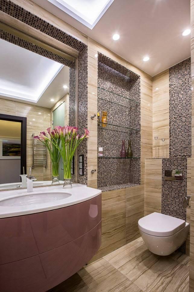 Сочетание плитки и мозаики в ванной: красивые фото готовых интерьеров