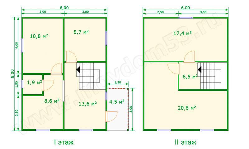 Двухэтажные дома 6 на 8 (56 фото): проекты домов в 2 этажа из пеноблоков и газобетона с планировкой, план домов с террасой и эркером, других