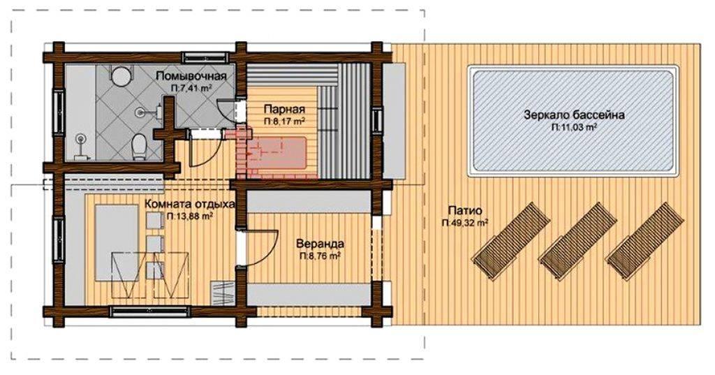 Бани 6х4 ( фото): проекты и планировка бани внутри, бани с террасой и мансардой, с мойкой и парилкой отдельно, другие планы