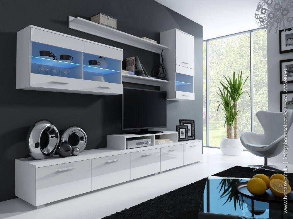 Современные стенки в гостиную — 50 красивых фото