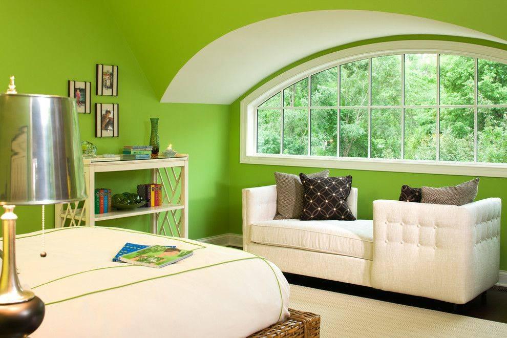 Дизайн салатовой спальни с фото