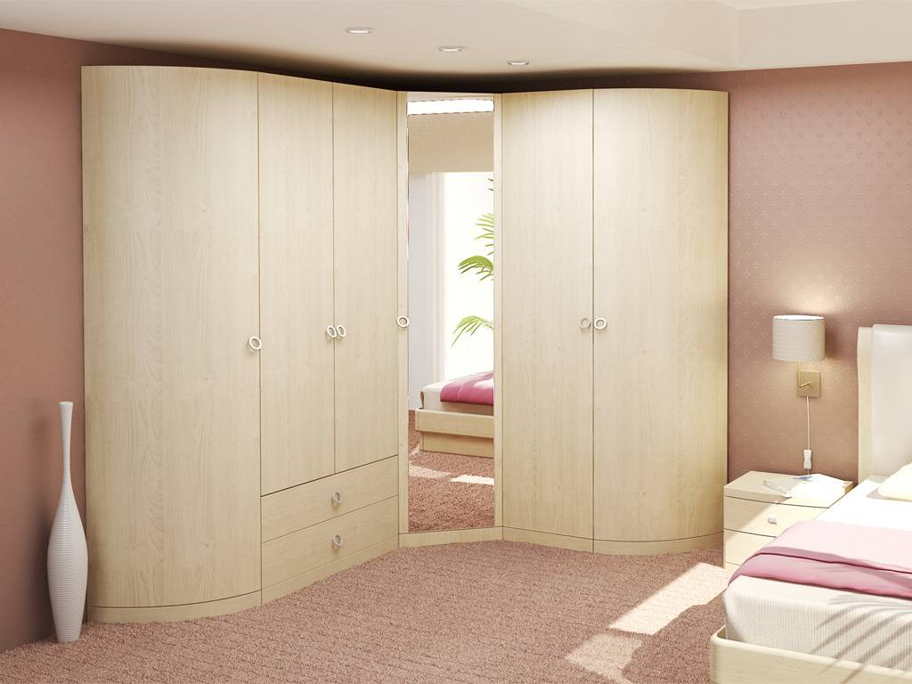 Угловой шкаф в спальню — фото новинки мебели с интересным дизайном, советы как выбрать нужный цвет, стиль, размер