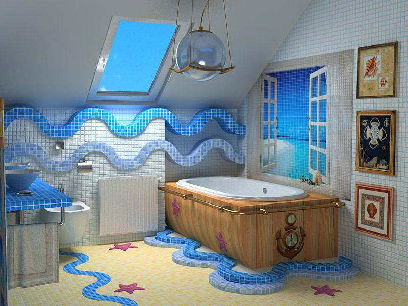 Ванная комната в морском стиле: океанские глубины в простой многоэтажке | дизайн интерьера