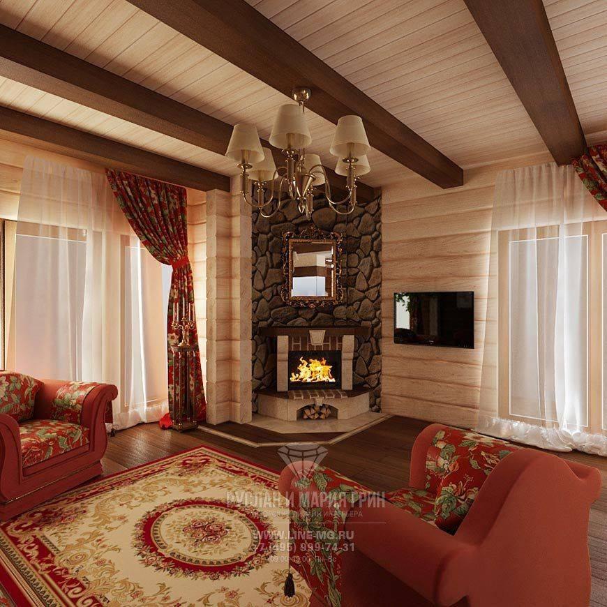 Варианты интерьера гостиных комнат в домах из бруса