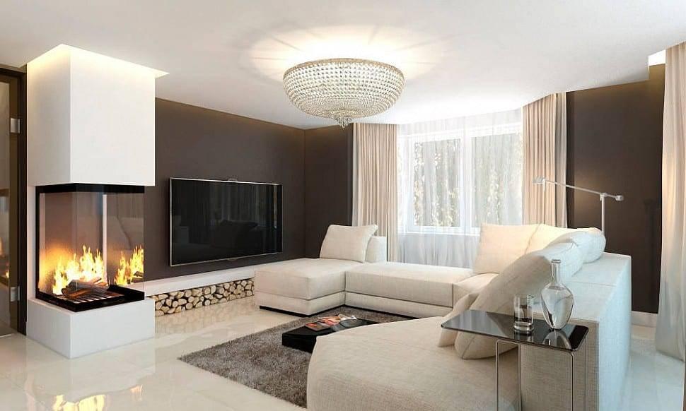 Гостиная с камином: современный стиль интерьера в частном доме с декоративным, белым или угловым биокамином и электрокамином  - 61 фото