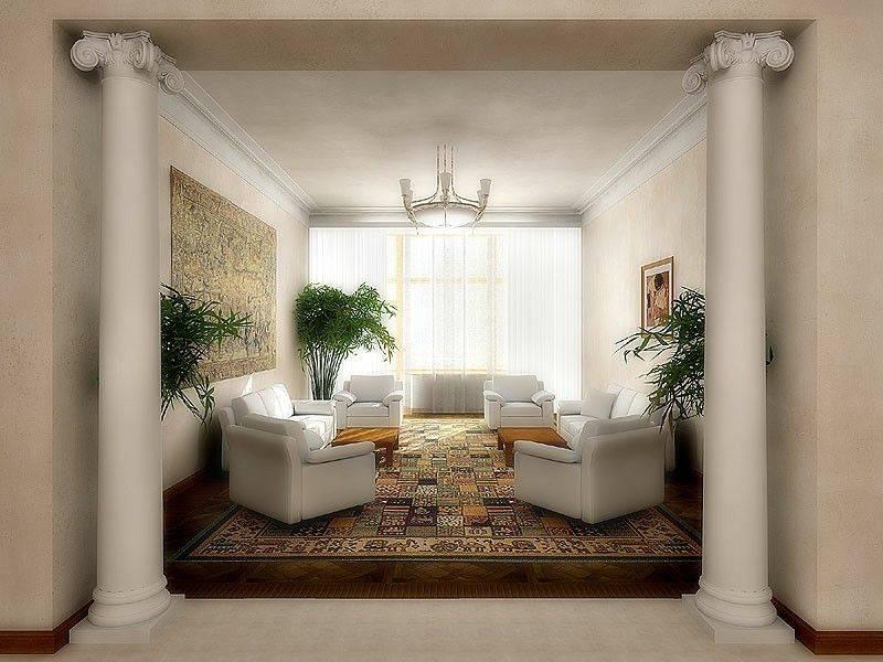 Колонны в интерьере - стили и материалы (50 фото)