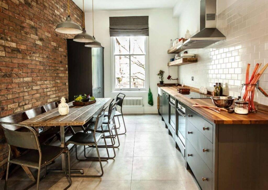 Лофт в кухонном интерьере - 130 фото примеров