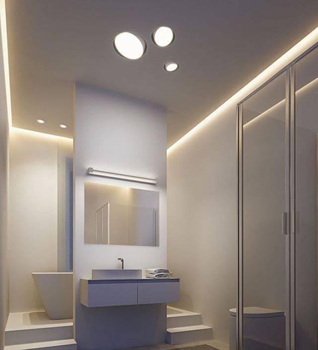 Дизайн ванной комнаты — красивое освещение как элемент декора