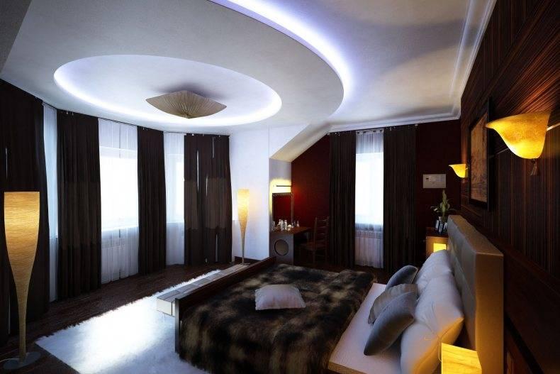 Фото дизайна спальной комнаты с натяжными потолками и светильниками