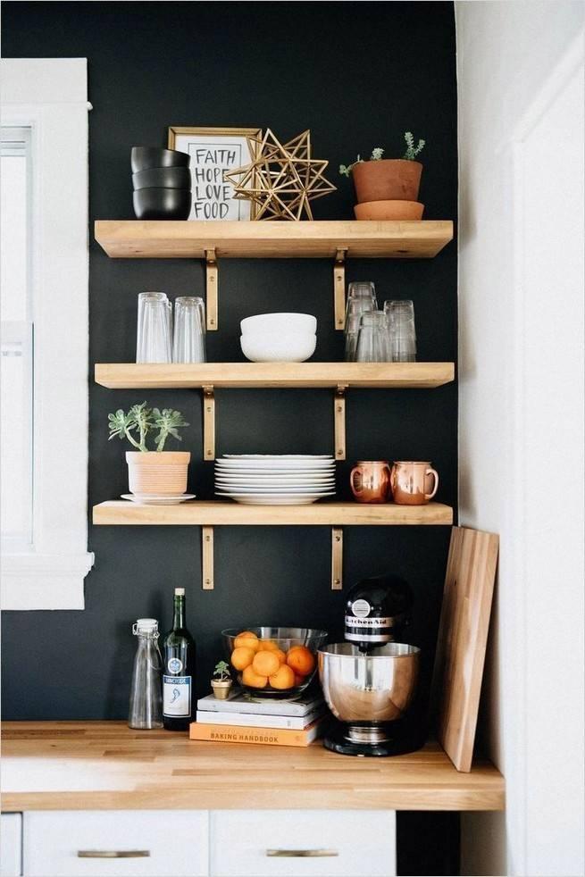 Настенные полочки для кухни: фото, конструкции, материалы, выбор, как сделать самому