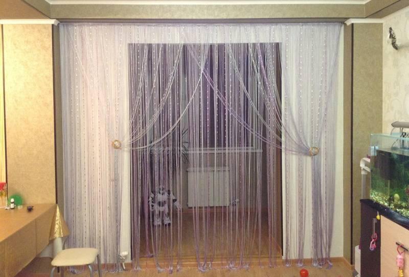 Нитяные шторы на кухню фото в интерьере, на магнитах тюль с нитяными шторами
