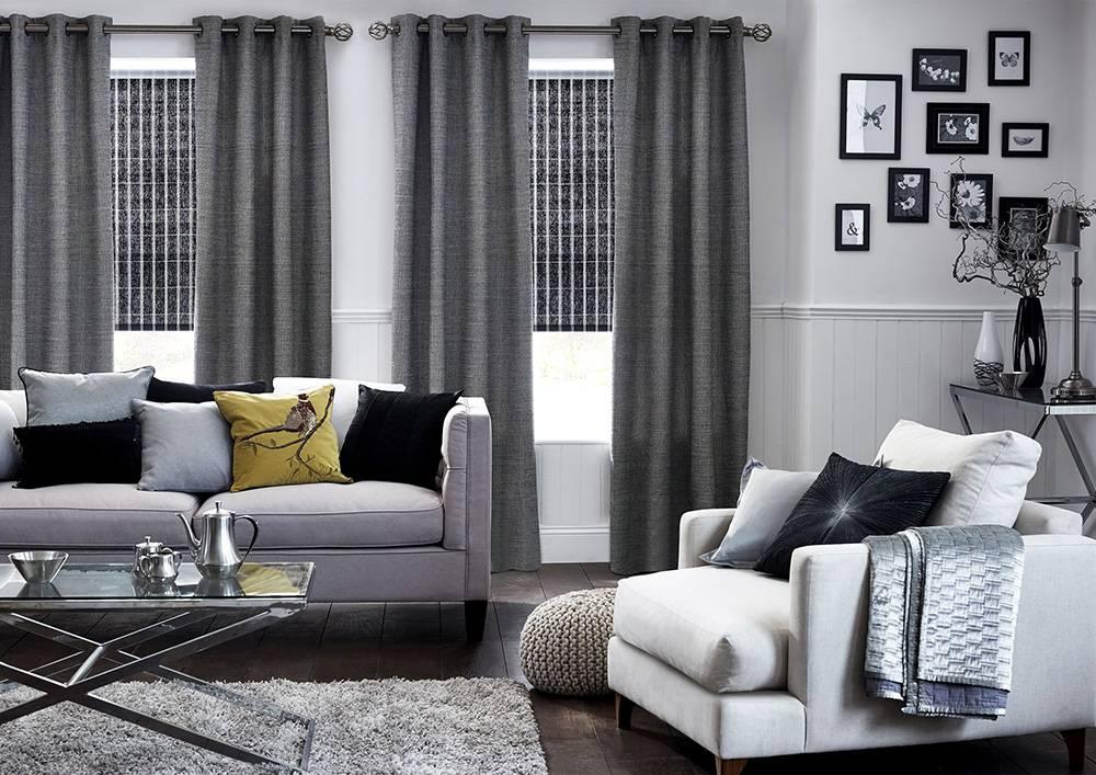 Интерьер в серых тонах: 150+ (фото) сочетаний штор/ обоев/ пола