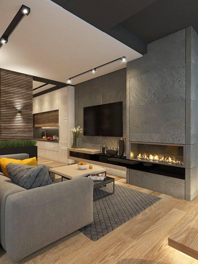 Гостиная с камином: дизайн интерьера и примеры использования стильных решений (150 фото)
