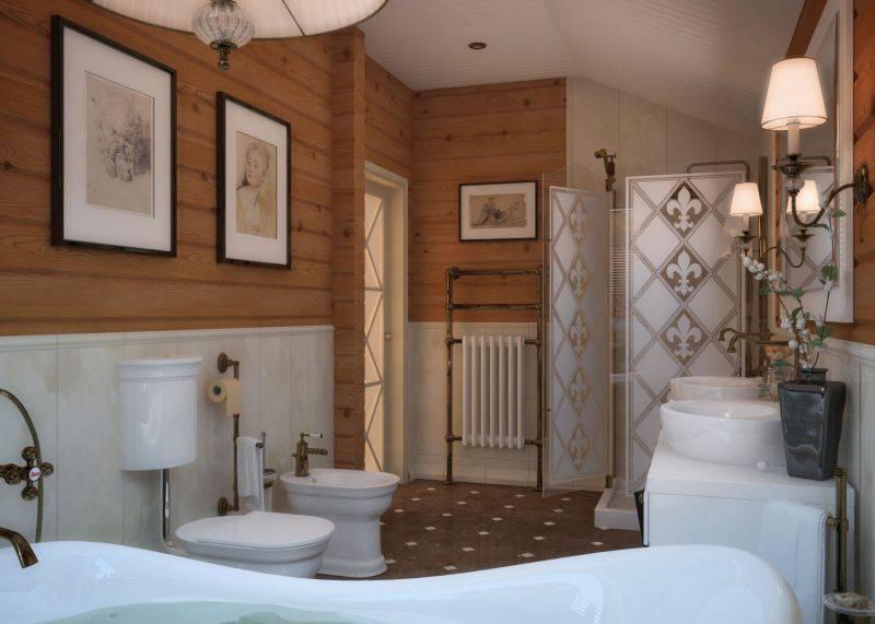 Ванная в деревянном доме (150 фото): правила оформления, выбора материала и цвета отделки с советами по украшению