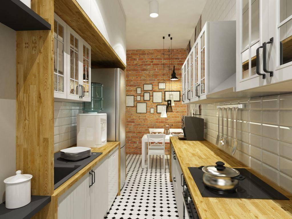 Дизайн длинной узкой кухни: 50 фото интерьеров