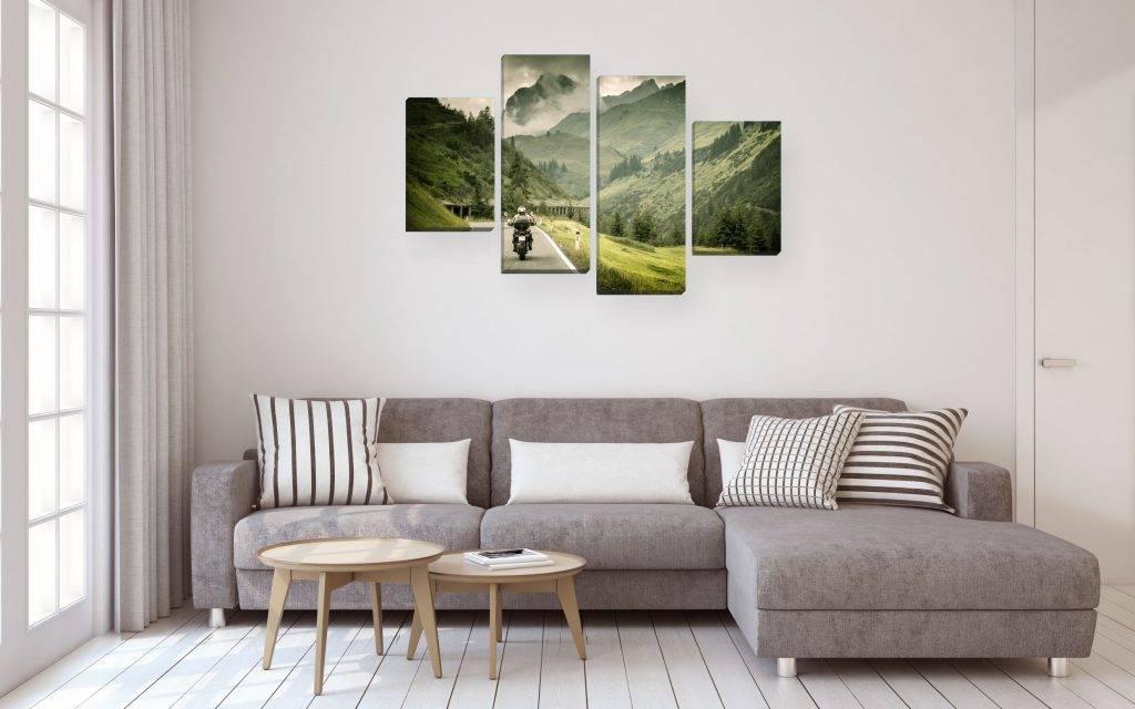 Модульные картины в интерьере гостиной над диваном — фото идей, варианты размещения