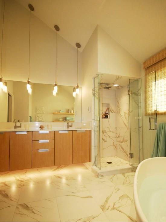 Подсветка в ванной — советы дизайнера по грамотному распределению источников света, 140 фото