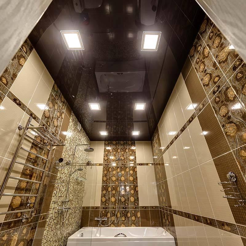 Натяжной потолок в ванной комнате: плюсы и минусы, фото