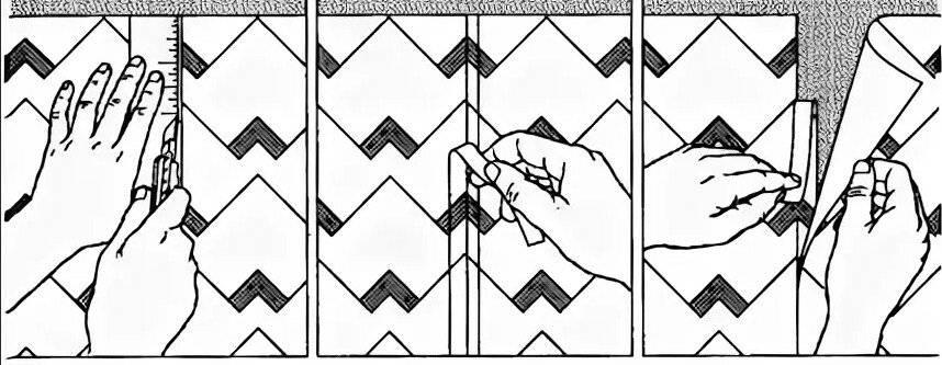 Как клеить обои с рисунком, также флизелиновые, виниловые, метровые: как это сделать экономно, правильно в углах, с подбором (подгонкой) принта, с разным раппортом?