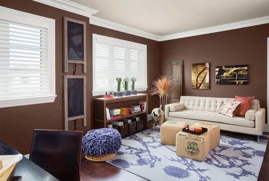 Коричневая гостиная: дизайн, сочетание цветов, стили и фото интерьеров (48 фото)